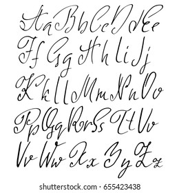 Hand Drawn Elegant Calligraphy Font Modern Brush Lettering Grunge Style Alphabet Vector Illustration