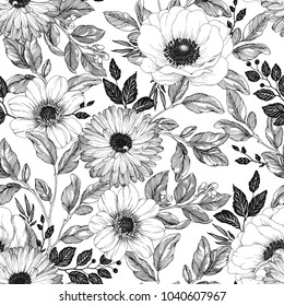 Hand drawn elegant pattern with flowers Anemone, Dahlia and Calendula, branches and foliage. Vector seamless background in vintage style.