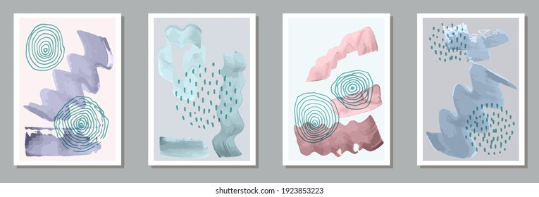 Hand drawn elegant posters vector collection. Watercolor stains texture. Japanese style prints. Stylish artwork layouts. Scribble elements.