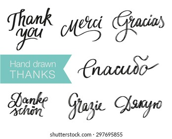 Hand drawn elegant Thank You phrases in different languages for your design. English, Russian, Italian, Spanish, Ukrainian; German, French. Modern typography and calligraphy. Custom hand lettering.
