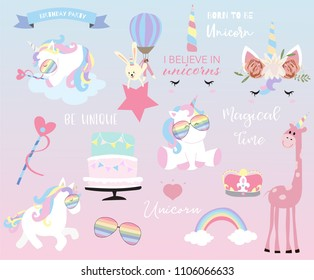 Hand drawn element with sleep unicorn,heart,star,glasses,cake,flag,rainbow,rabbit,giraffe and crown