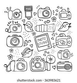 The hand drawn elements to create a logo photography, logo photo studio, logo studio photographer, logo wedding photos, logo family photos. Vector illustration