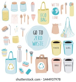Hand drawn elements for eco zero waste life. Go green. No plastic.  Items collection   on white background. Vector.