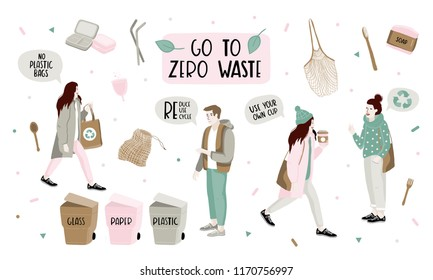 Hand drawn elements of zero waste life in vector. Eco style. No plastic. Go green