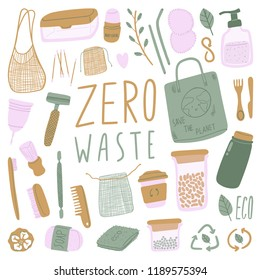 Hand drawn elements of zero waste life in vector. Eco style. No plastic.