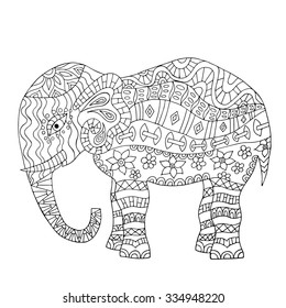 hand drawn elephant coloring page 260nw