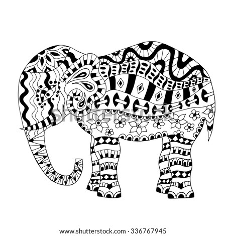 Hand Drawn Elephant Coloring Page Coloring Stock Vector (Royalty ...