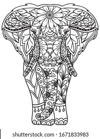 Hand drawn elephant doodle with flower decorative elements. Coloring page for adult and kids. Vector Illustration.
