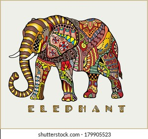 Hand drawn elephant with elements of a flower ornament, colorful patterned design, vector sketch illustration