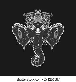 Hand drawn Elephant Head. Indian god Lord hindu deity Ganesha. Ganapati Vinayaka vector illustration for ritaual tattoo.