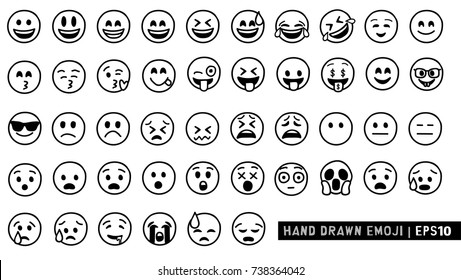 Hand Drawn Emoji. Black and White Design. Line drawing emoticon.