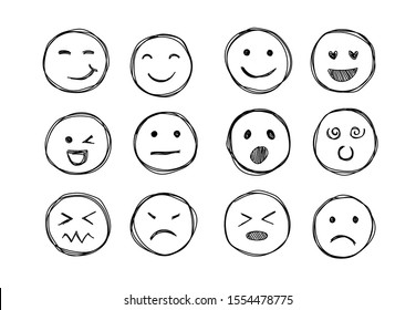 Hand drawn emojis faces. Doddle emoticons sketch, thin line icons of happy sad face, vector illustration