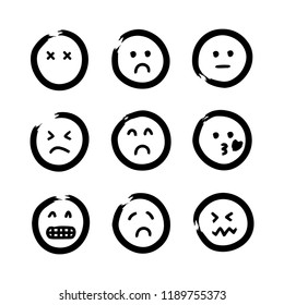Hand drawn emojis faces. Doodle vector illustration