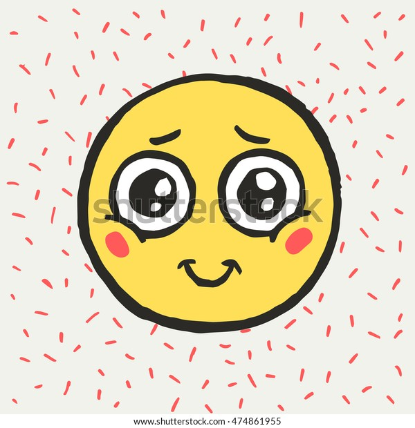 Hand drawn emoticon. Emoji. Smile icon. Vector illustration. Funny cartoon face.Cute doodle style. Embarrassment.