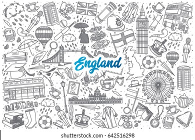 Hand drawn England doodle set background with blue lettering in vector