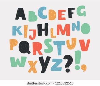 Hand drawn english alphabet. Set of letters in different colors. ABC of capital latin characters, and special symbols. Vector cartoon illustration of in modern concept