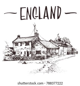 Hand drawn English cottage, townhouse urban sketch. Hand-drawn book illustration, touristic postcard or poster template in vector