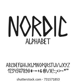 Hand drawn english lettering alphabet Nordic with examples of this font. Modern ink brush handwritten letters isolated on the white background