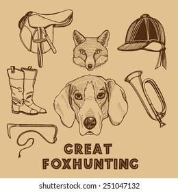 Hand drawn English traditional foxhunting set. Foxhound, fox, riding boots, riding hat, saddle, riding whip, hunting horn