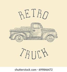 Hand drawn Engraved Retro Vintage Pickup Truck. Vector illustration