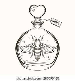 Hand drawn engraving Sketch of  Bee in the bottle with honey. Vector illustration for tattoo and handmade decorative brooch. Can be used for postcard, t-shirt, fabric bag or poster. Insect collection.