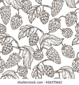 Hand drawn engraving style Hops Seamless pattern. Common hop or Humulus lupulus branch with leaves and cones. Black and white Vector Floral background