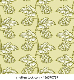 Hand drawn engraving style Hops Seamless pattern. Common hop or Humulus lupulus branch with leaves and cones. Vector Green Floral background