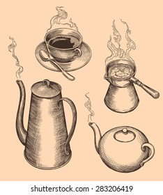 Hand drawn engraving. Tea and coffee. 8 EPS