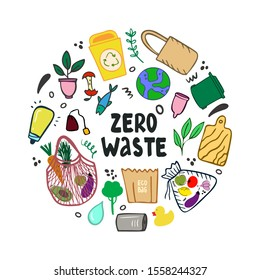Hand drawn environmental protection round concept from plastic pollution. Zero waste lettering. Hand-drawn organic products, no harm to the environment in doodle style. Garbage sorting and recycling