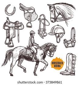 Hand Drawn Equipment For Horses. Horse And Horseback Riding Sketch Set