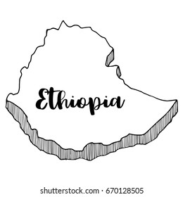 Hand drawn of Ethiopia map, vector illustration