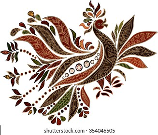 Hand drawn ethnic bird isolated on white background. Vector.