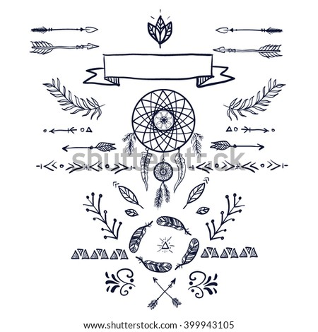 80b022ab578 Hand Drawn Ethnic Collection Dreamcatcher Arrows Stock Vector ...