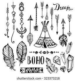 Hand drawn ethnic design elements. collection. Vector set with tribal, indian, aztec, hipster, boho elements