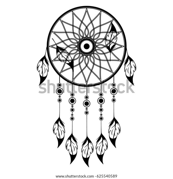 Hand Drawn Ethnic Dreamcatcher Coloring Page Stock Vector Royalty Free 625540589