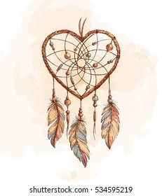 Hand drawn ethnic dreamcatcher heart. Native vector illustration. Boho colorful sketch for tattoo, poster, print, t-shirt