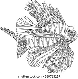 Hand drawn ethnic fish isolated on white background. Vector.