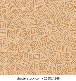 Hand Drawn Ethnic Seamless Pattern in Tribal Style