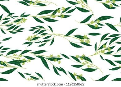 Hand Drawn Eucalyptus Seamless Pattern. Vintage Background with Beautiful Vector Eucalyptus Palm Fern, Green Leaves, Tropical Foliage. Eucalyptus Seamless Pattern for Wedding Design, Textile, Print.