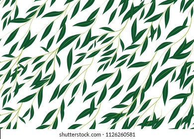Hand Drawn Eucalyptus Seamless Pattern. Vintage Background with Beautiful Vector Eucalyptus Palm Fern, Green Leaves, Tropical Foliage. Eucalyptus Seamless Pattern for Wedding Design, Textile, Print.