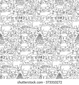 Hand drawn Europe seamless pattern. Vector illustration of seamless pattern with European animals and plants
