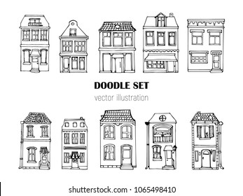 Hand drawn European city houses set in cute cartoon style. Colorful modern townhouse building sketch. Old houses, City buildings, Doodle decorative elements collection. Creative vector illustration.