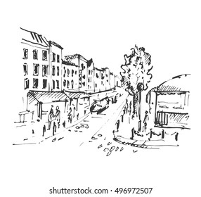 Hand drawn european street. City sketch vector illustration.