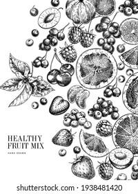 Hand drawn exotic citrus fruits and wild berries. Vector orange, lemon, grapefruit, mandarine, cherry, raspberry, blueberry, strawbeery. Engraved illustration. Menu package cosmetic design