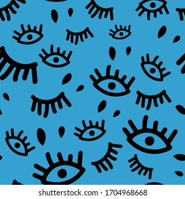 Hand drawn eye and eyelash background - colors of black and blue. Seamless repeating background