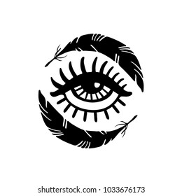 Hand drawn eye and feathers. Doodle style. Tattoo design element.The third eye vector illustration.