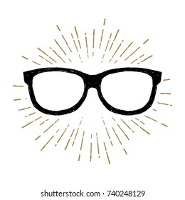 Hand drawn eye glasses textured vector illustration.