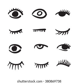 Hand drawn eyes set vector illustration black and white
