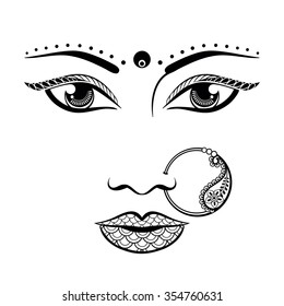 Hand drawn face of an Indian woman in zentangle style. Sketch vector illustration for tattoo, t-shirt design.