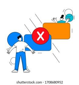 Hand drawn failed electronic money transfer vector illustration